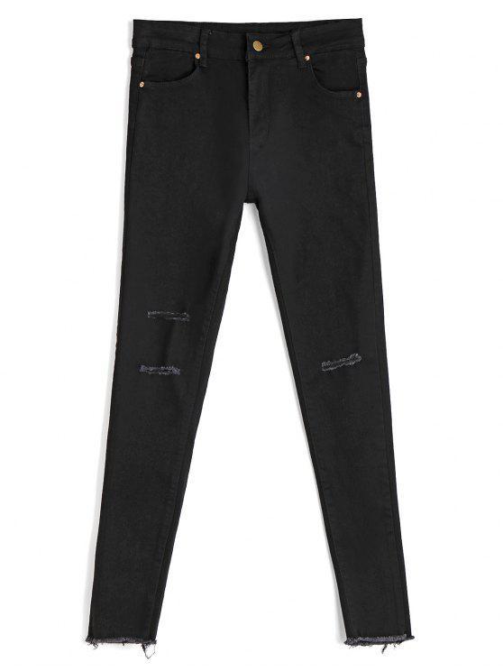 Skinny Ninth Zerstörte Bleistift Jeans - Schwarz M