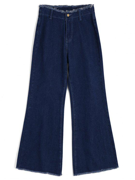ladies High Waisted Frayed Wide Leg Jeans - DENIM BLUE S