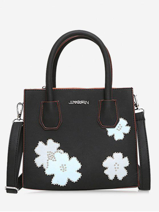 fancy Letter Flower Lock Handbag - BLACK