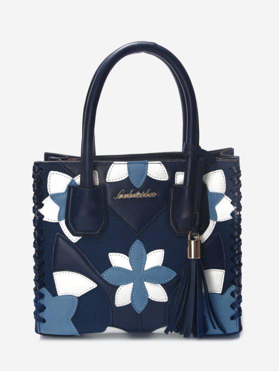 sale Floral Tassel Braid Tote Bag - BLUE