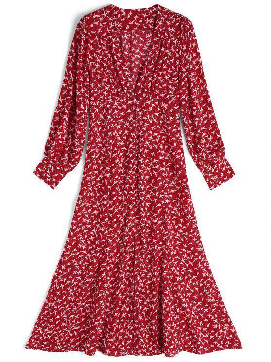 Long Sleeve Bird Front Slit Maxi Dress - Vermelho e Branco L