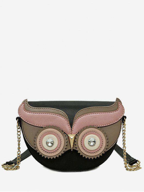 fashion Rhinestone Owl Chain Crossbody Bag - BLACK