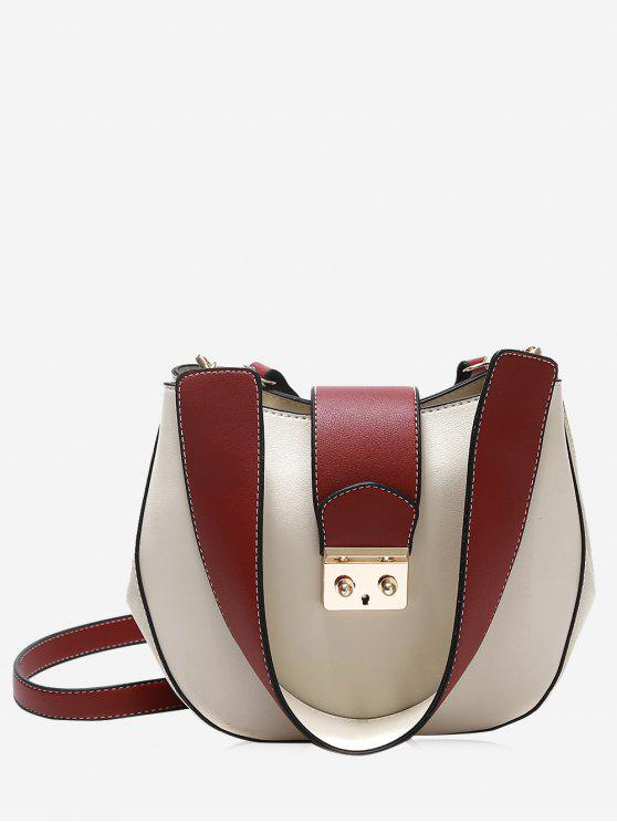 affordable Metal Detailed Two Tone Crossbody Bag - WHITE