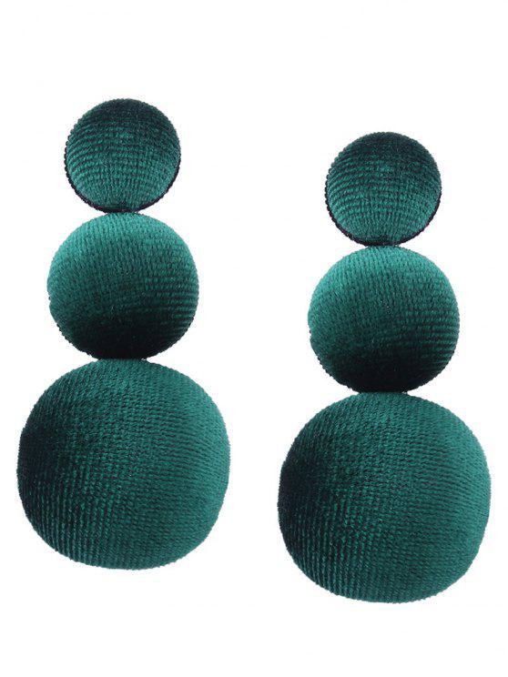 Graduierte runde Samt Ohrringe - GREEN