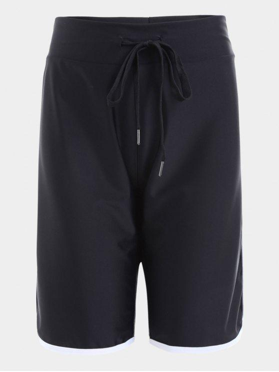 best Drawstring High Waisted Sporty Shorts - BLACK M