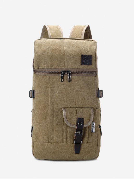 Zip Buckle Straps Backpack - Kaki