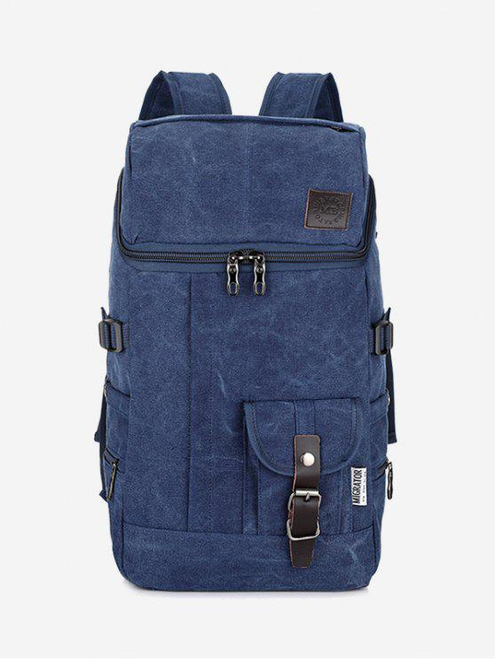 Zip Buckle Straps Backpack - Bleu