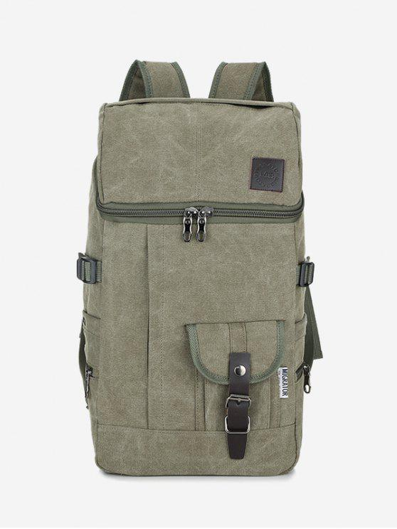 Zip Buckle Straps Backpack - Verde
