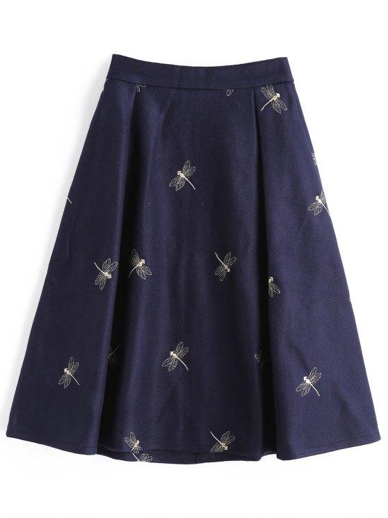 Falda bordada libélula de la mezcla de las lanas de Midi - Azul Purpúreo L