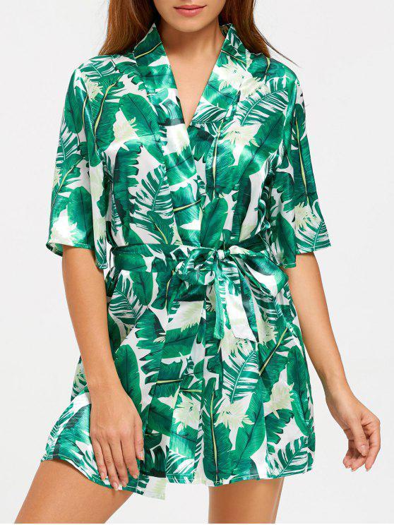fancy Tropical Leaves Print Wrap Sleep Robe - GREEN 2XL