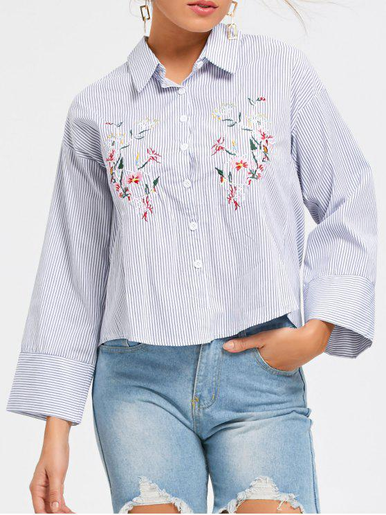 latest Striped Embroidery Button Up Shirt - STRIPE L