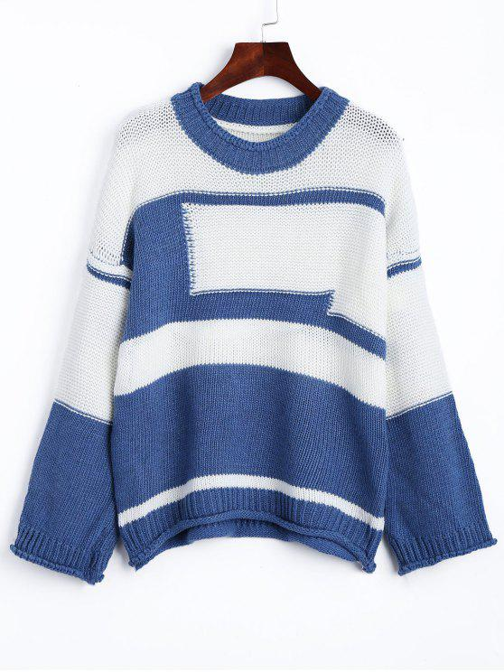 fancy Drop Shoulder Two Tone Jumper Sweater - BLUE AND WHITE ONE SIZE