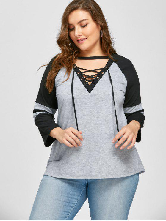 Plus Size Lace Up Raglan Ärmel T-Shirt - Schwarz & Grau XL
