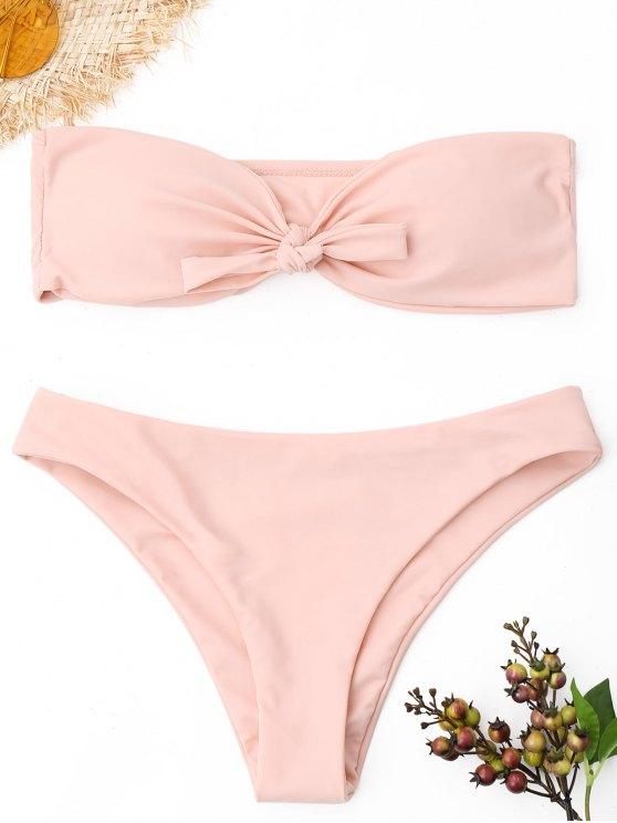 adae90fbb4 22% OFF] 2019 Knot Bandeau Bikini Set In PINK   ZAFUL