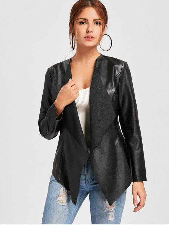 womens Faux Leather Waterfall Jacket - BLACK 2XL