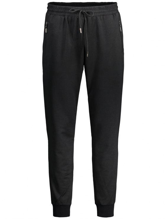 latest Drawstring Zipper Pocket Jogger Pants - BLACK XL