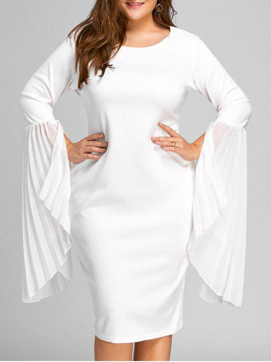 Plus Size Bell Sleeve Pleated Sheath Dress WHITE