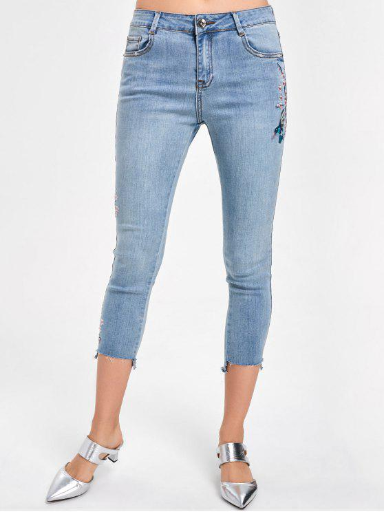 sale Embroidery Faded Capri Jeans - DENIM BLUE XL