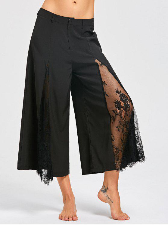 Wimpernspitze Setzen Sie breite Bein-Hosen ein - Schwarz M