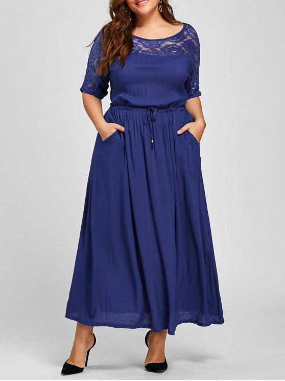 فستان الحجم الكبير ماكسي دانتيل التريم مشد - أزرق 2XL
