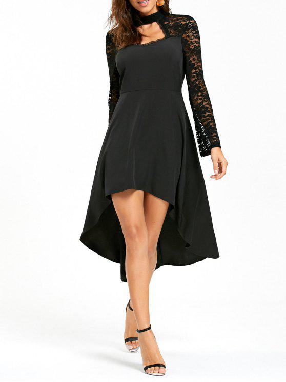 2019 Lace Insert High Low Cut Out Dress In Black M Zaful