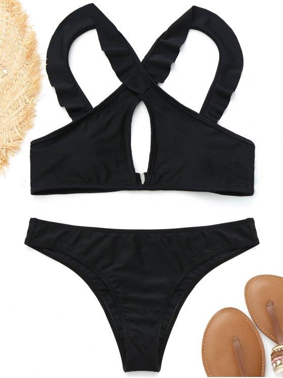 sale Ruffles Front Cross Bikini - BLACK S