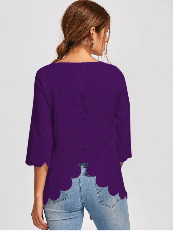 unique Button Detail Scalloped Edge Blouse - PURPLE XL