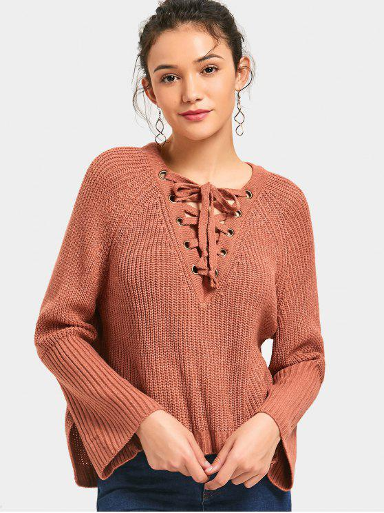 womens Side Slit Lace Up High Low Sweater - JACINTH ONE SIZE