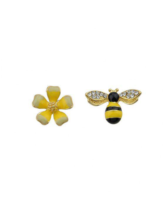 زهرة مزين حجر الراين النحل وأقراط - الأصفر