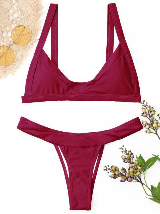 Ensemble de bikini rembourré Thong - Rouge vineux  S