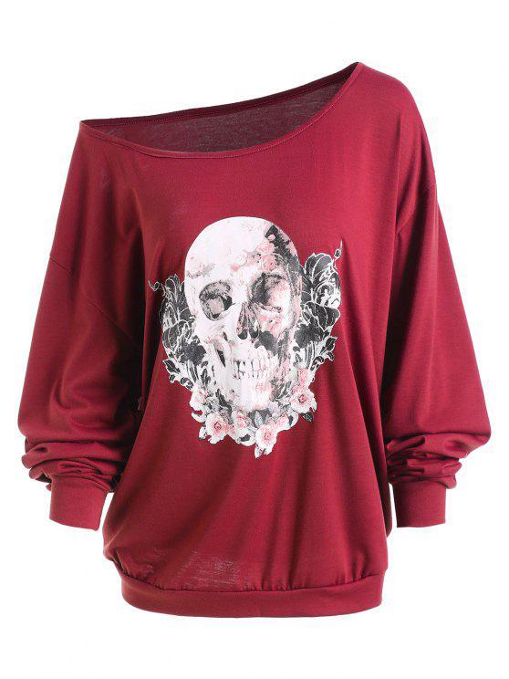 d8d28ca1d7f 44% OFF  2019 Plus Size Halloween Rose Skull Skew Neck Tee In WINE ...