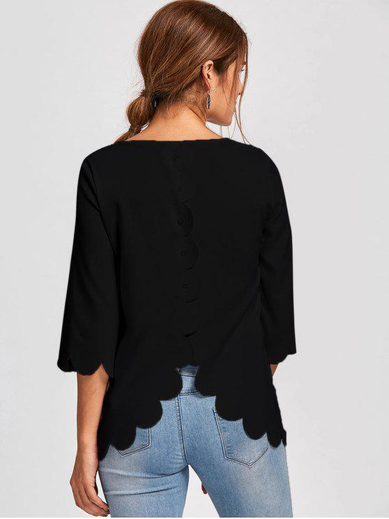 trendy Button Detail Scalloped Edge Blouse - BLACK L