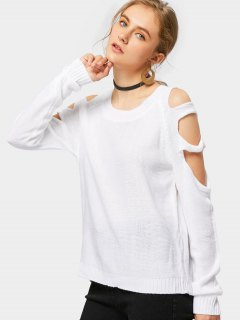 Crew Neck Cut Out Pullover Sweater - White L