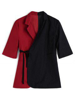 Contrasting Wrap Stripes Blazer - Blue And Red S