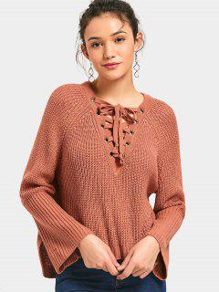 Side Slit Lace Up High Low Sweater - Jacinth
