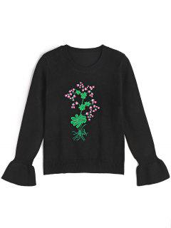 Ruffled Sleeve Embroidered Pullover Sweater - Black S