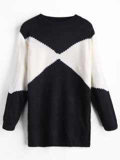 Color Block Longline Jumper - White And Black