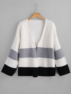 Blusa De Color Open Front Cardigan - Blanco
