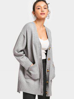 Button Up Plunge Cardigan Mit Taschen - Grau S
