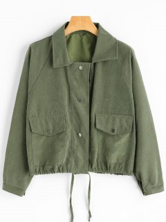 Snap Button Jacket With Pockets - Army Green