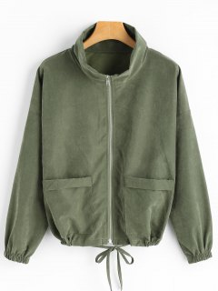 Drop Shoulder Zippered Jacket With Pockets - Army Green