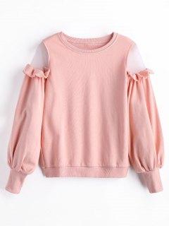 Sweat-shirt à Empiècement En Tulle à Volants - Rose PÂle S
