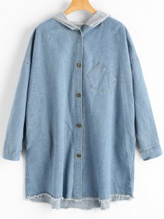Frayed Hem Pocket Hooded Denim Coat - Light Blue