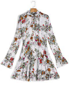 Long Sleeve Floral Ruffles A Line Dress - White S