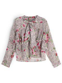 Bowknot Layered Star Floral Blouse - Floral S