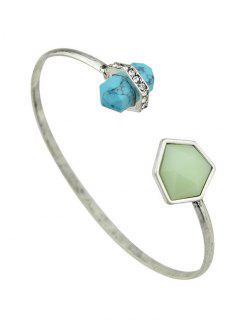 Artificial Gem Geometric Cuff Bracelet - Silver