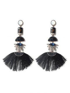 Geometric Bohemia Tassels Drop Earrings - Black