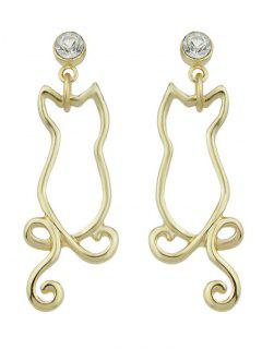 Rhinestone Kitten Earrings - Golden