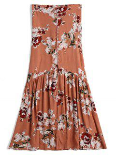 Front Slit Floral Button Up A Line Skirt - Floral S
