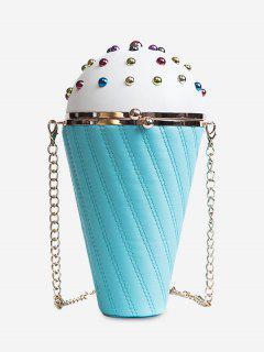 Rivets Ice Cream Shape Stitching Crossbody Bag - Blue